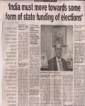 Navin Chawla - India must toward state funding of election 9 March 2014